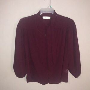 Maroon Blouse with Tie Accent